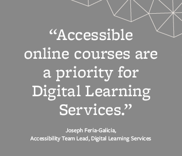 Accessible online courses are a priority for Digital Learning Services.