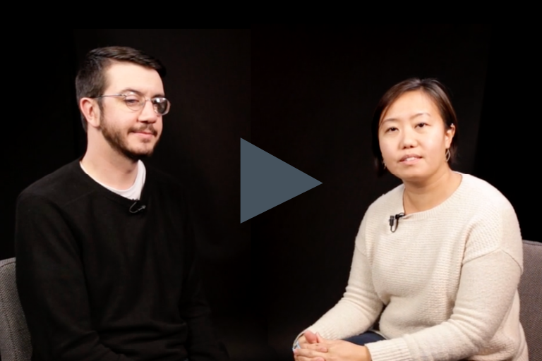 In this video, Will Butler, a white male with vision impairment is in an interview with an instructor, who is an asian-american female.