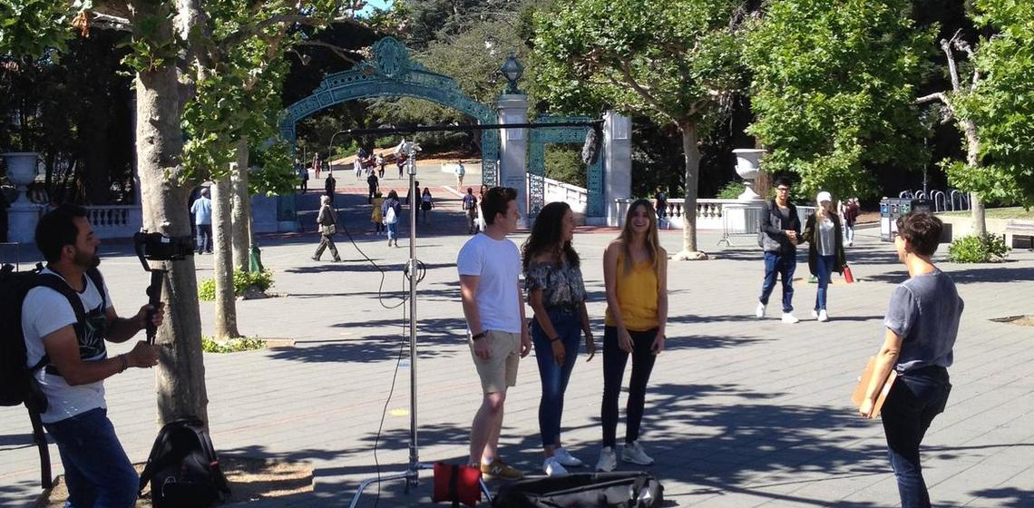 DLS recording student interviews in Sproul Plaza.