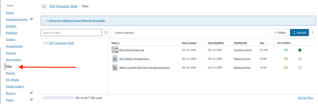 Add a document from the Files section.