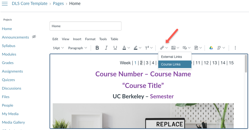 Link to a page from Course Links in the dropdown menu.