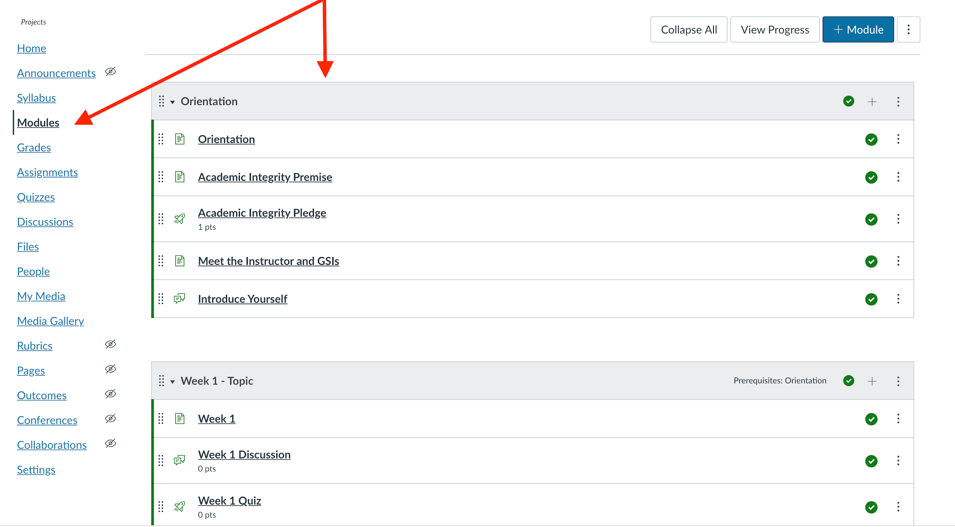 Select the Modules tool from the navigation bar and then +Modules.