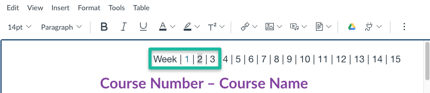 Select the week you are linking to in the navigation bar.