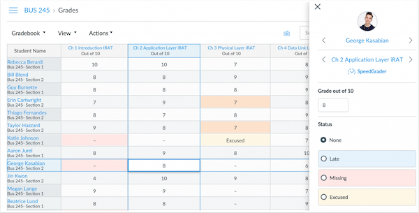 screenshot of canvas's new gradebook