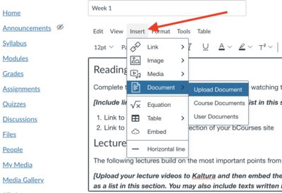 Add document directly to the page through the Insert>Document>Upload Document pathway in edit mode.