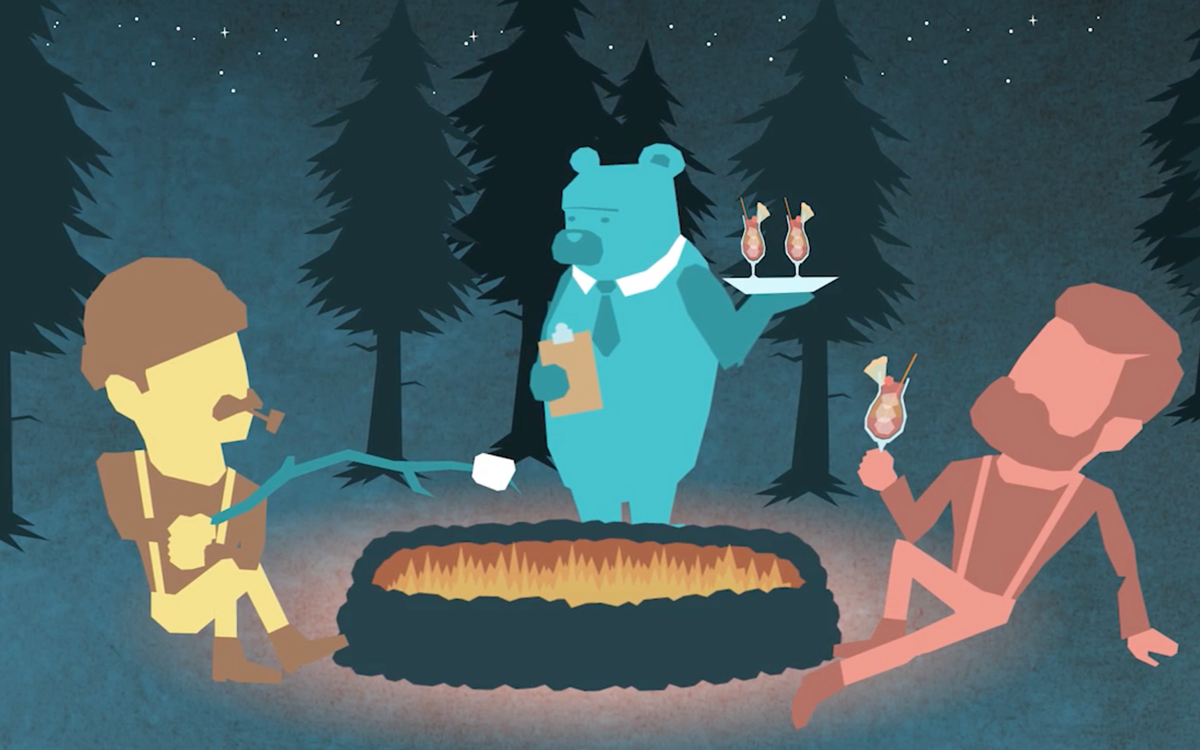 Two animated humans and a bear around a campfire